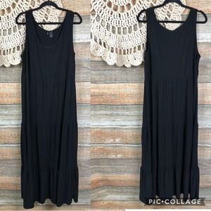 New Directions Tiered Black Full Maxi Dress 2x